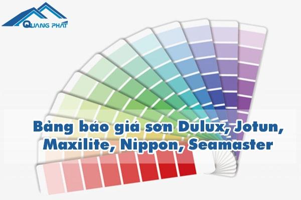 Bảng báo giá sơn Dulux, Jotun, Maxilite, Nippon, Seamaster