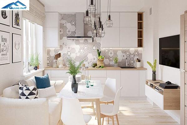 Phòng khách đẹp, bếp chung một không gian