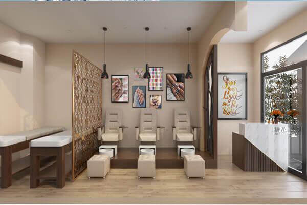 Phong cách thiết kế tiệm nail và spa sử dụng vách ngăn gỗ